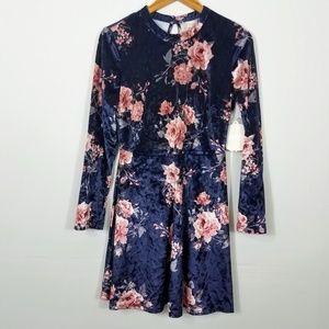 Altar'd State Blue Crushed Velvet Floral Dress NWT